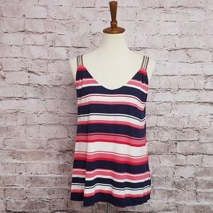 Max studio striped top with embroidered straps